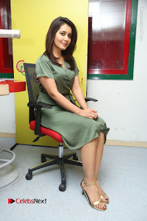 Actress Raashi Khanna Stills in Green Short Dress at Mirchi 95 Suno Aur Mercedes Jeeto Contest  0142.JPG