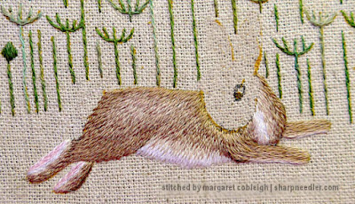 Embroidered body of hare from Jenny McWhinney's Queen Anne's Lace