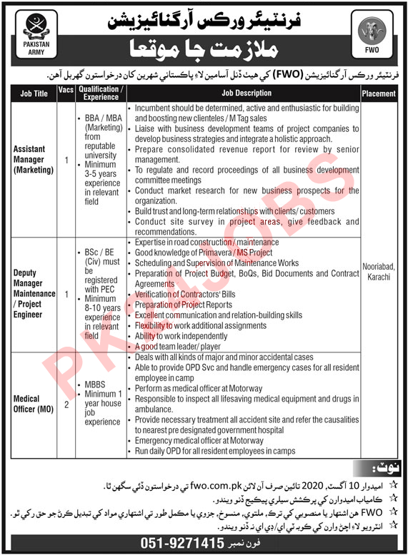 FWO Karachi Jobs 2020 for Medical Officer and Assistant Manager