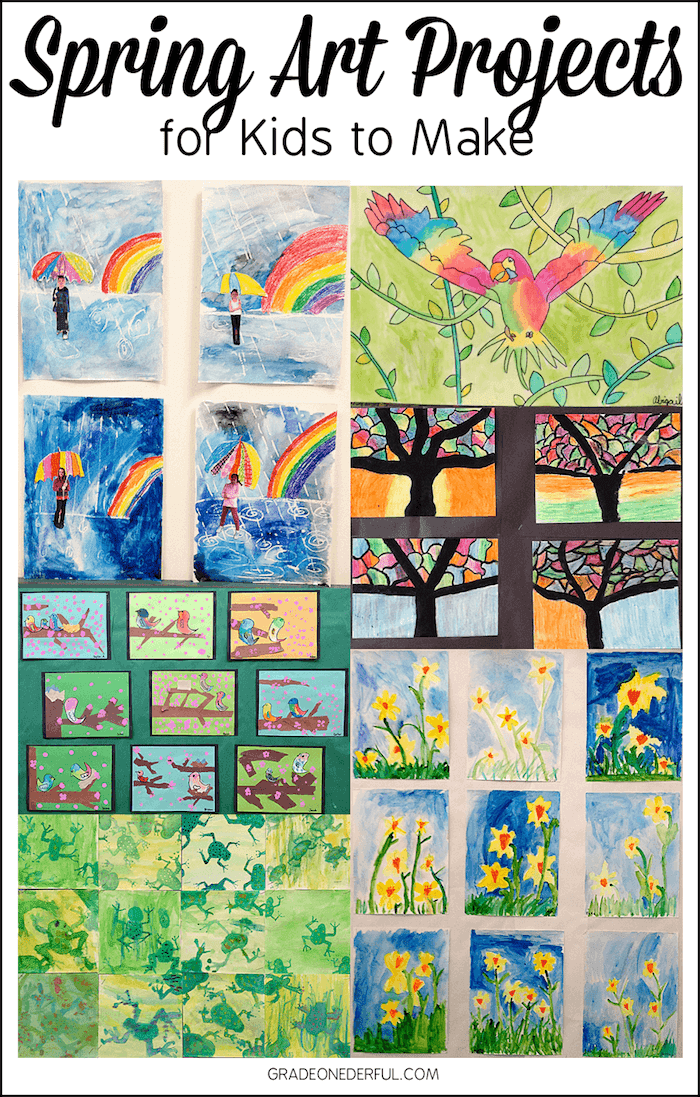 Beautiful spring art from my elementary school. Lots of inspiration for you! 7 beautiful spring art projects your kids can easily make.