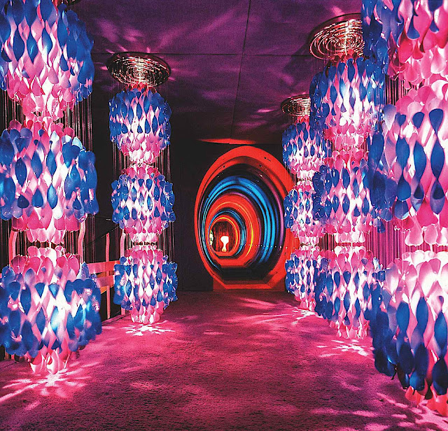a Verner Panton psychedelic installation at the 1970 Cologne Furniture Fair