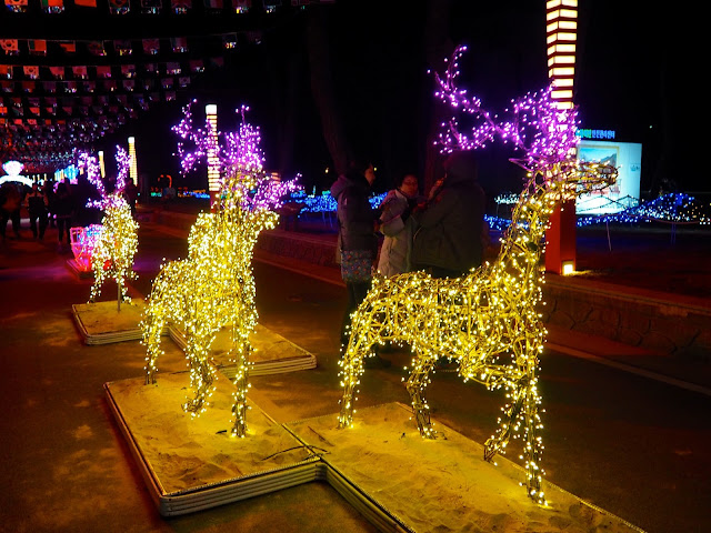 Reindeer and sleigh display at the Light Festival at the Yulpo Beach area of Boseong Green Tea Plantation, South Korea