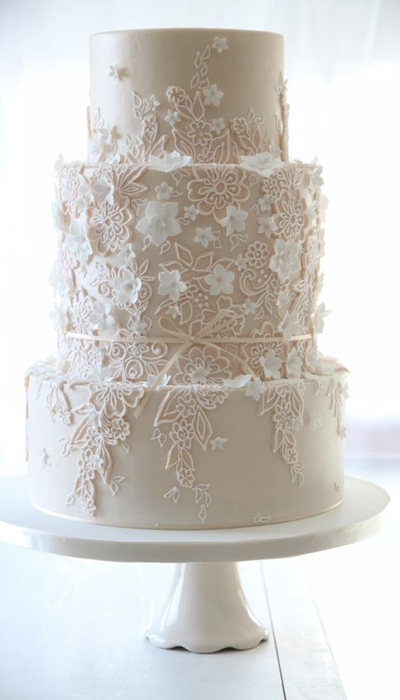 Lace Design Wedding Cake : 15 Lace Wedding Cake Designs for a Vintage Wedding ...