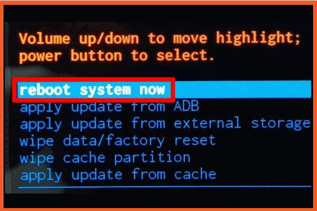 """خيار """" Reboot system now""""  """" اعادة التشغيل """""""
