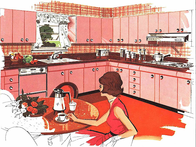 a 1963 kitchen illustration in red