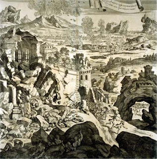 An engraving dated at 1696 is thought to depict ruined buildings in Catania after the 1693 earthquake
