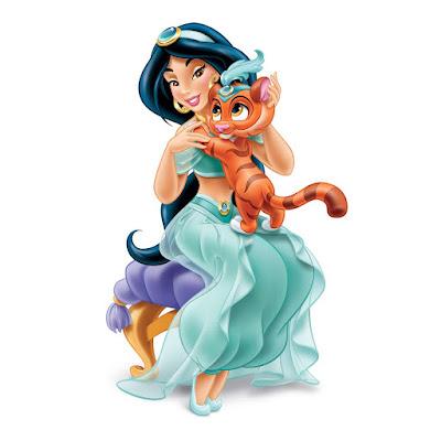 jasmine con su tigre mascota Rajah
