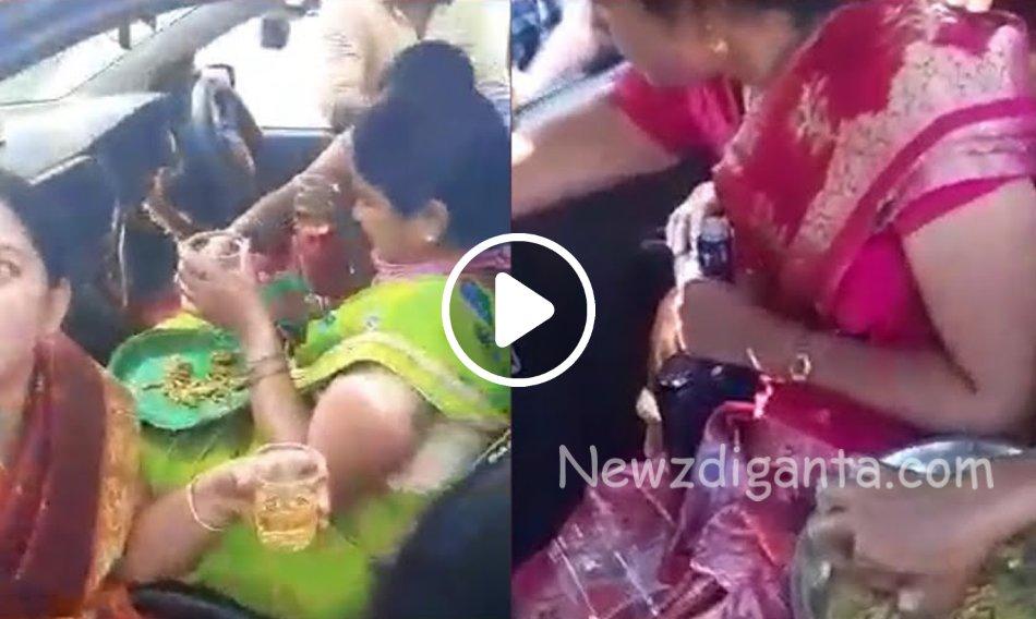 """""""காருக்குள் 'குடி'த்தனம், வைரலாகும் உற்சாக பெண்கள் வீடியோ..!"""