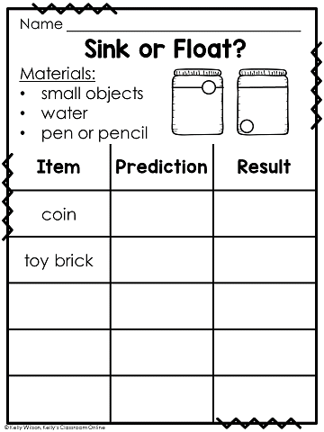 Sink or Float Science and STEM Activity Record Sheet by Kelly's Classroom Online