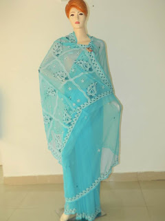 Lucknowi Chikan Light Blue Georgette Saree