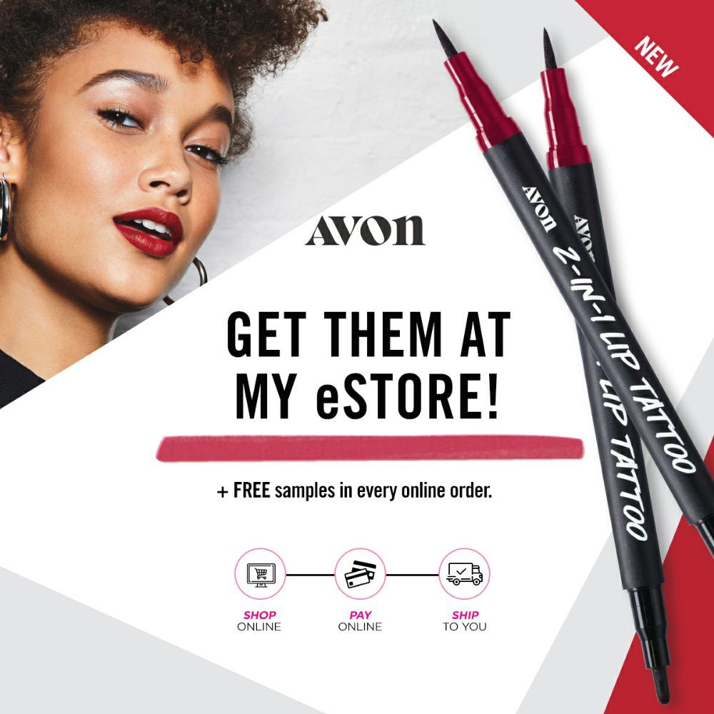 Meet the new 2-in-1 Avon Lip Tattoo that won't smudge, budge or feather all day.