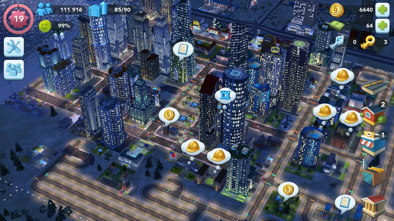 SimCity Buildit APK - pemandangan kota di malam hari
