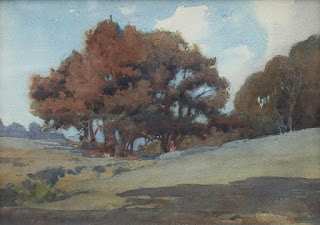 Tonalist Watercolor by Early California Watercolor Artist Percy Gray
