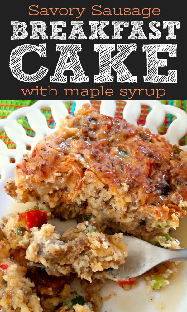 The ORIGINAL Southern savory breakfast cake loaded with sausage, onions and peppers then served with hot maple syrup. #breakfast #cake #sausage #original