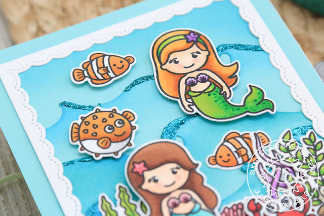 Sunny Studio Stamps: Magical Mermaids, Best Fishes, Catch A Wave Dies & Fancy Frames Summer Themed Card by Juliana Michaels