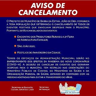 Aviso de cancelamento do São João