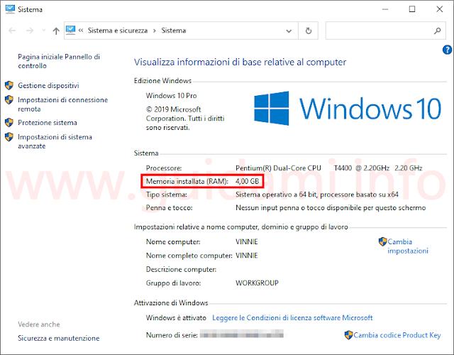 Windows 10 Pannello di controllo Sistema dettaglio quantità memoria RAM installata