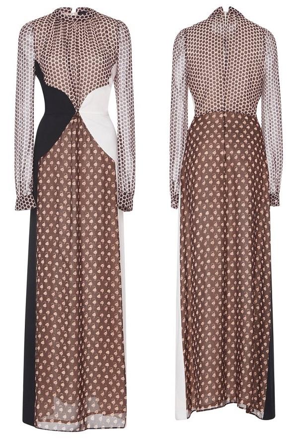 Queen Maxima is wearing Giambattista Valli Polka-dot Paneled Silk Dress