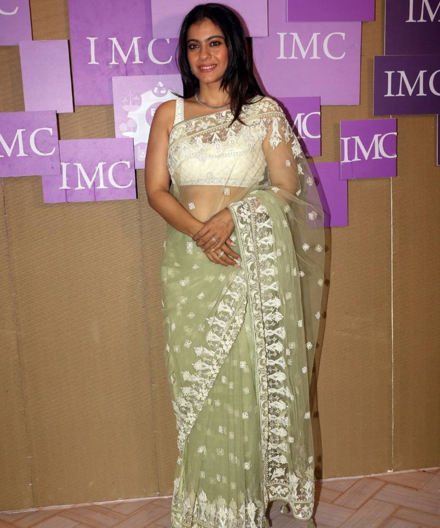 Kajol Looks stunning in Transparent Green Saree Inaugurates The Imc Ladies Wing Exhibition At NSCI Worli