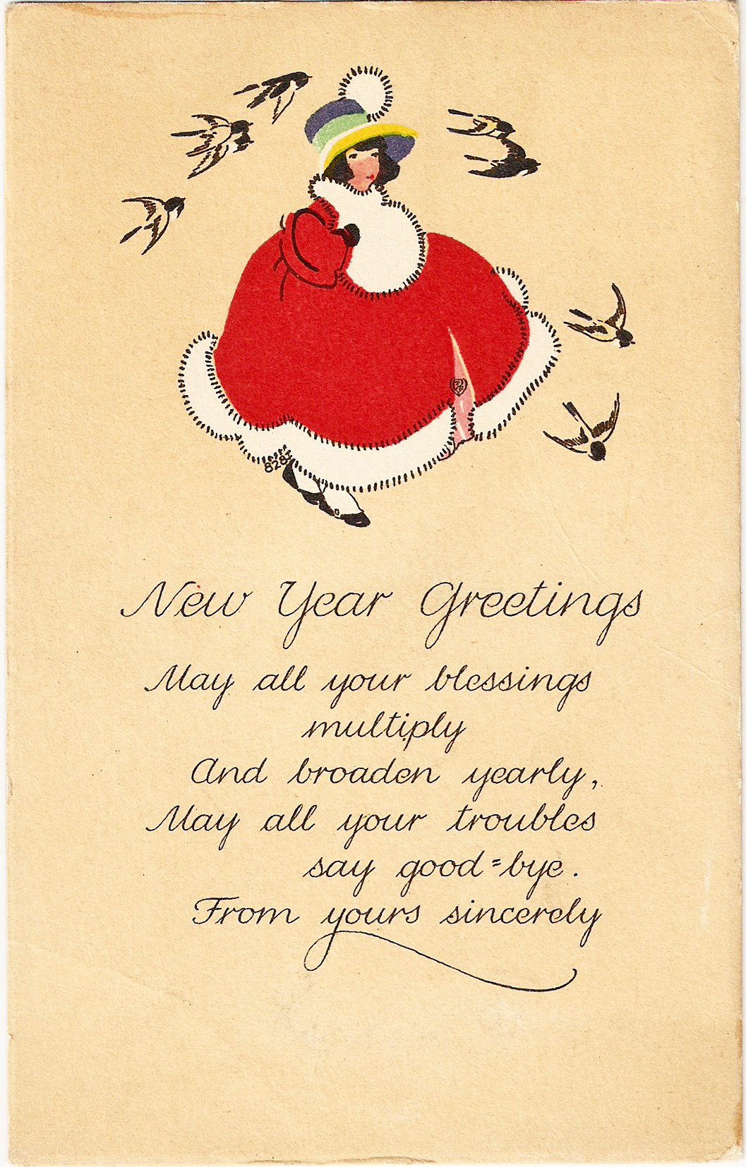 Free Vintage Clip Art  Volland Christmas New Year Postcard 1922. 1057 x 1654.New Year Wishes For Boyfriend Heart Images Love