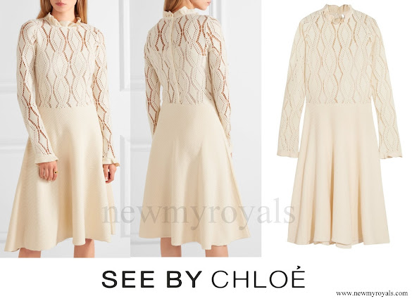 Kate Middleton wore SEE BY CHLOÉ Pointelle Knit Cotton Blend Dress