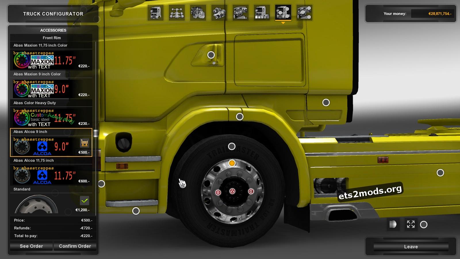 Black & Red Wheels for Scania Trucks