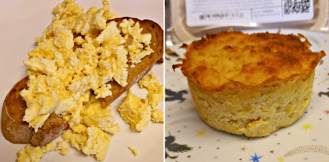Scrambled eggs and Sweetcorn and feta muffin