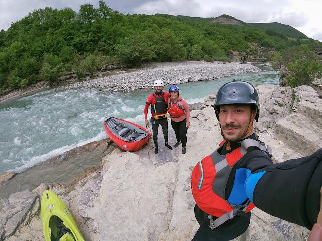 Rati, Olivia, and Marcel before paddling down Osumi, Albania