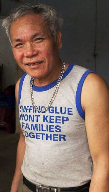 'Sniffing Glue Wont Keep Families Together' tee shirt as worn by a clueless old dude.  PYGear.com