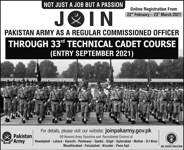 Join Pakistan Army As A Regular Commissioned Officer jobs in Pakistan 22/02/2021 Latest