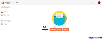Delete blogger blog permanently