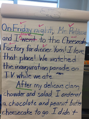 Model narrative writing for your first and second graders so they can learn the process during writer's workshop. Students should see you sound out words and brainstorm ideas as you write, leaving spaces between words & thinking out loud as you write. Reread the story. Make with green marker all the transition words in the story. Mark with pink, all the words that help to tell the story (who, what, when, where, how) {1st, 2nd grade, balanced literacy, narrative writing}