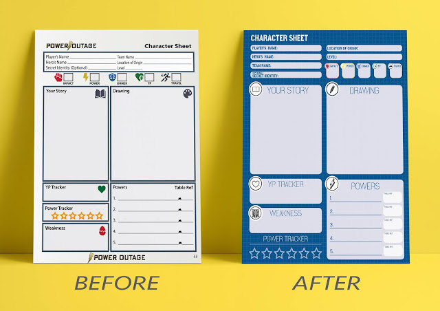 Two character sheets, one more complicated design (labeled before) and one refined visually on the left (labeled after).