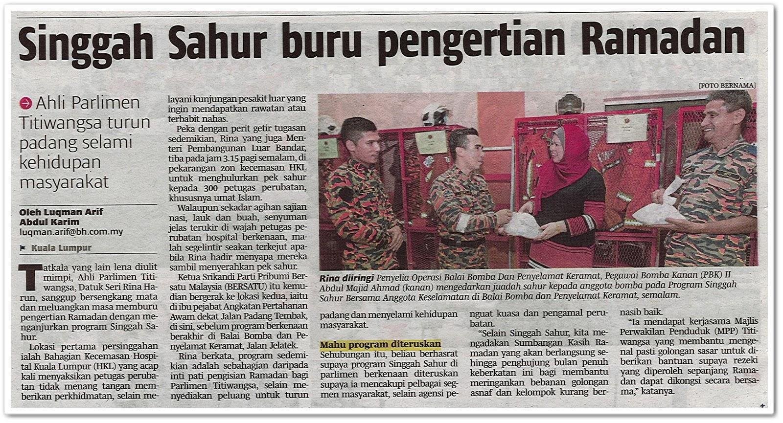 Singgah Sahur buru pengertian Ramadan - Keratan akhbar Berita Harian 21 Mei 2019