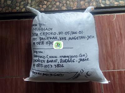 Benih padi yang dibeli   MUHHADI Magetan, Jatim.  (Setelah packing karung ).