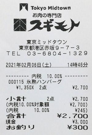 スギモト 東京ミッドタウン店 2021/2/6 のレシート
