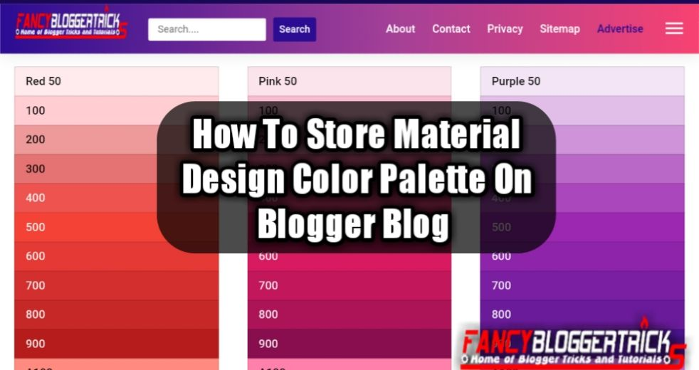 How to Store Material Design Color Palette on Blogger Blog
