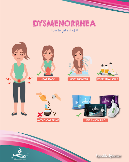 How to Get Rid of Dysmenorrhea, How to Stop Period Pain, How to Reduce Menstrual Pain Easily, Jeunesse Anion Liners, Jeunesse Anion Sanitary Pads, Health and Wellness, AAPM Tips, Press Release,
