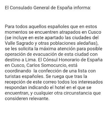 Mensaje Embajada Española en Perú Covid 19