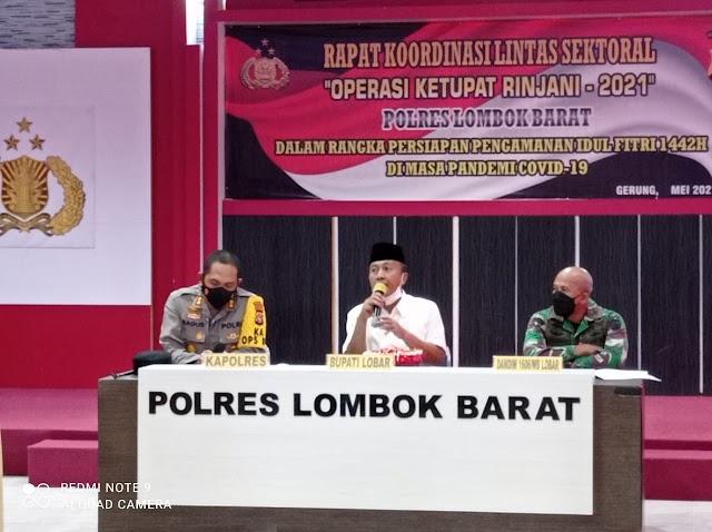 Jelang Hari Raya Idul Fitri, Protokol Kesehatan Menjadi Prioritas Utama Forkopimda Lobar.