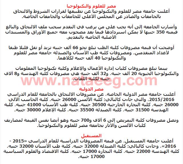 مصروفات ومواعيد الالتحاق بالجامعات الخاصة فى مصر 20172018