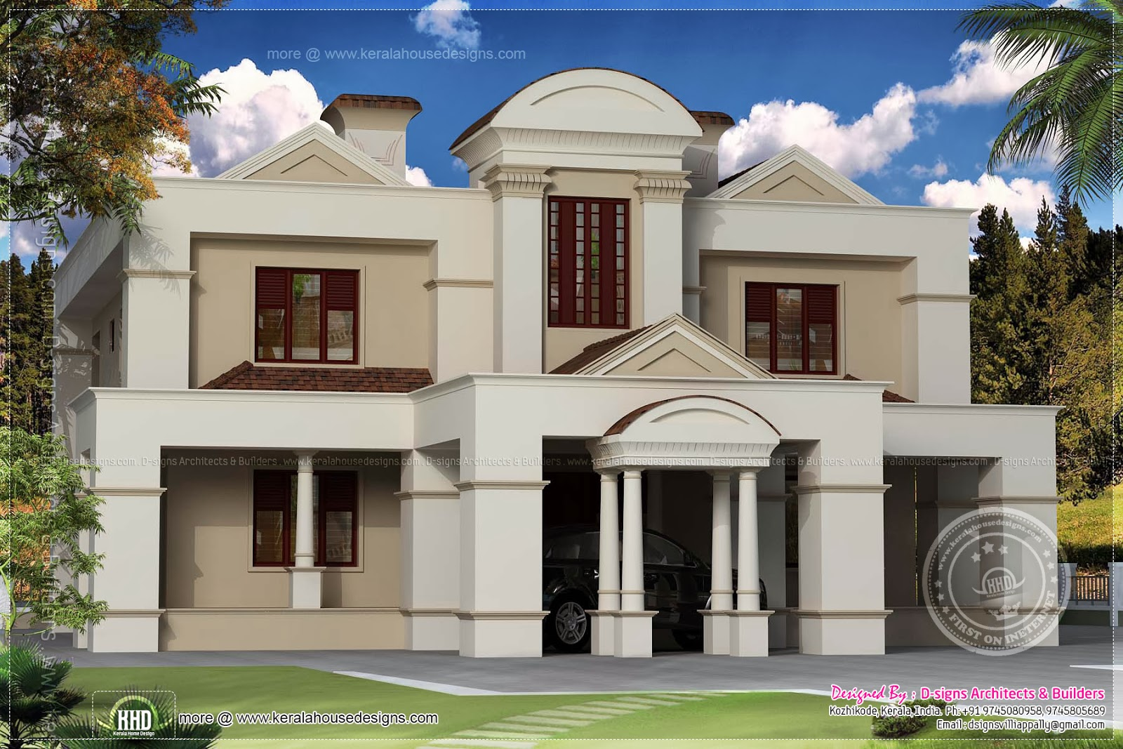 Traditional old house renovation plan to colonial style for Colonial style home design in kerala