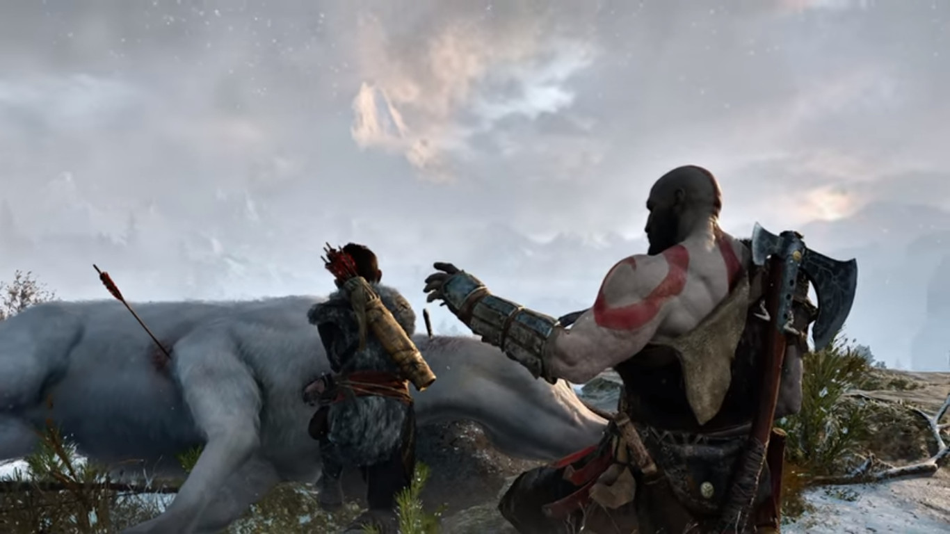 God of War E3 2016 gameplay trailer reveal old man Kratos with son training in Valhalla God of  War in Norse Mythology