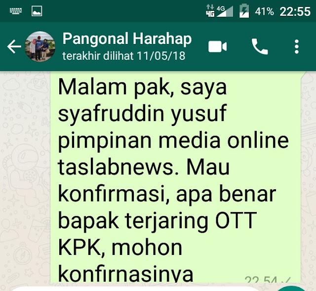 Konfirnasi taslabnews tidak dijawab Pangonal.