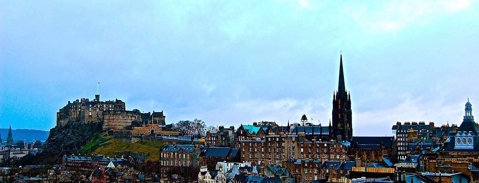 Skyline of Royal Mile in Edinburgh, Scotland; Edinburgh Castle; St. Giles' Cathedral