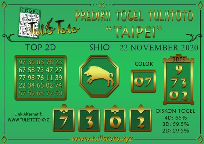 Prediksi Togel TAIPEI TULISTOTO 22 NOVEMBER 2020