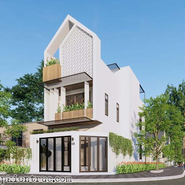 Dùng gạch bông gió tạo điểm nhấn cho nhà phố