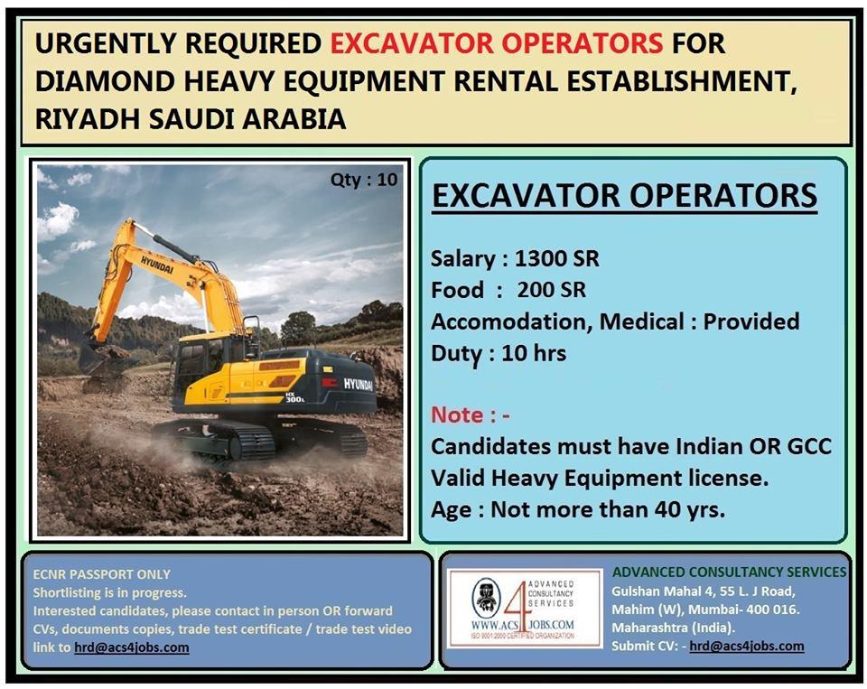 Excavator Operators for Diamond Developer of Heavy Equipment