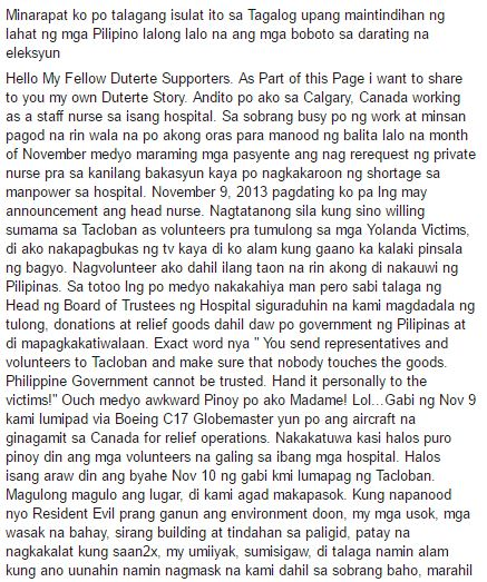 A volunteer nurse during the Yolanda relief operations has revealed how Roxas and Duterte acted that time! Unbelievable!