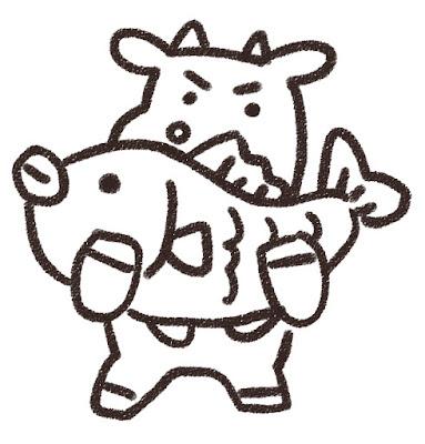 鯛を持ち上げる牛のイラスト(丑年・白黒線画)